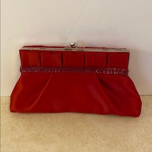 Kate Landry red satin clutch evening bag beaded